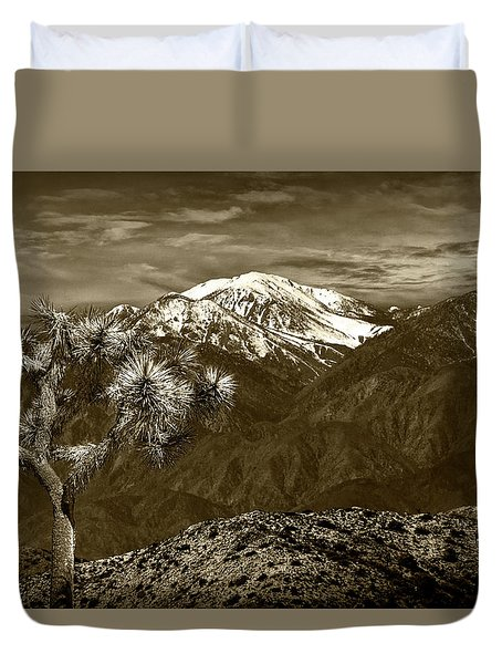 Duvet Cover featuring the photograph Joshua Tree At Keys View In Sepia Tone by Randall Nyhof
