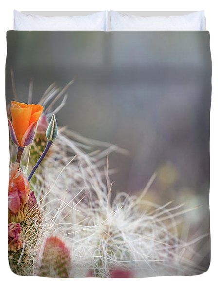 Joshua Tree Cactus And Flower Duvet Cover