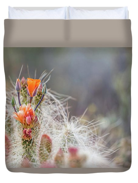 Joshua Tree Cactus And Flower Duvet Cover