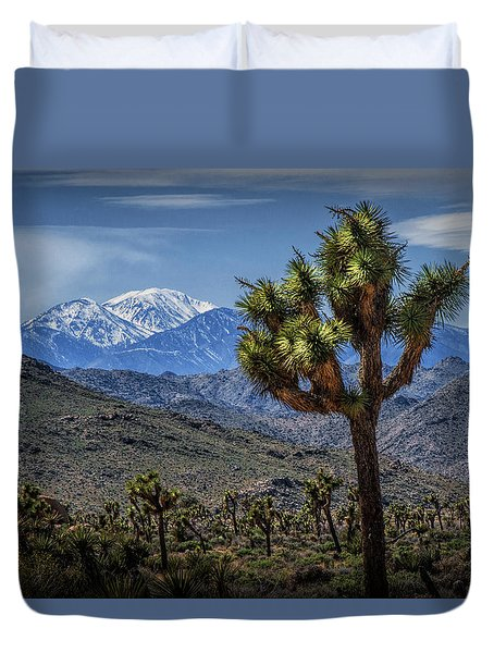 Duvet Cover featuring the photograph Joshua Tree In Joshua Park National Park With The Little San Bernardino Mountains In The Background by Randall Nyhof