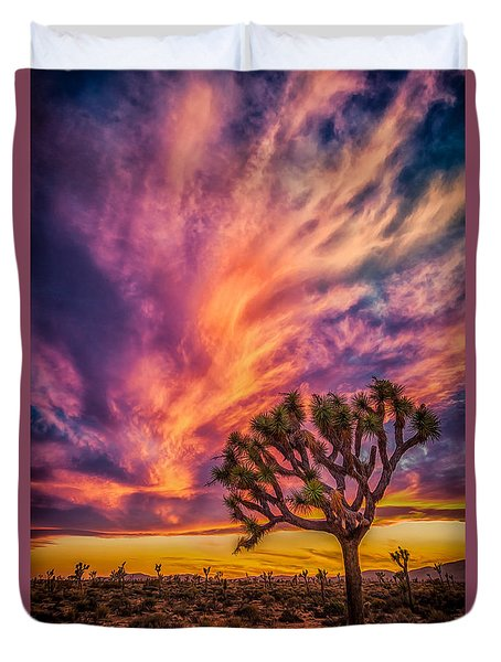Joshua Tree In The Glowing Swirls Duvet Cover