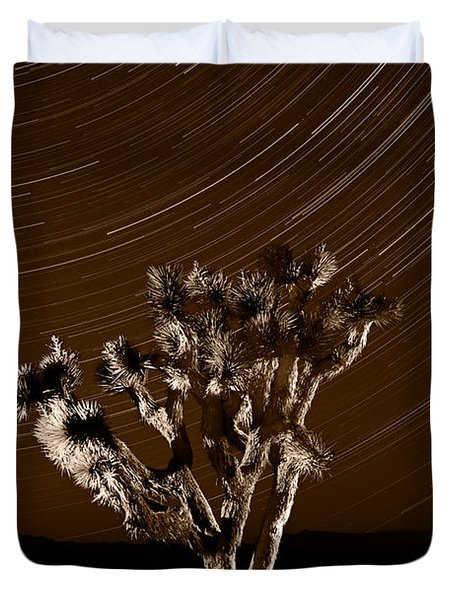 Joshua Tree Night Lights Death Valley Bw Duvet Cover