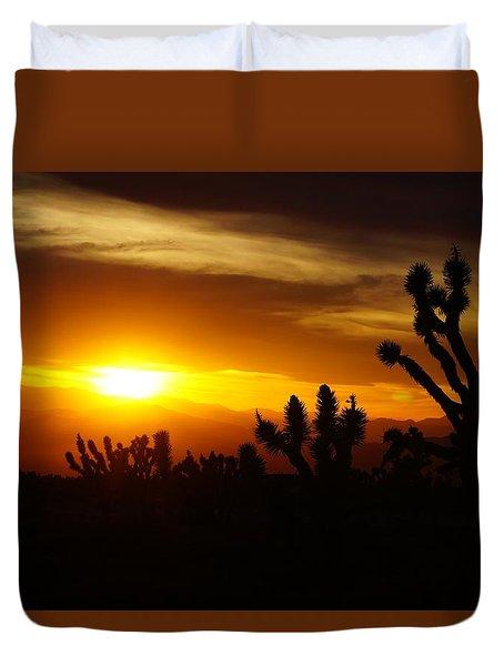 Joshua Tree Sunset In Nevada Duvet Cover