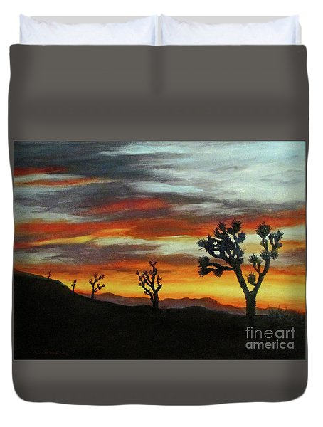 Joshua Trees At Sunset Duvet Cover