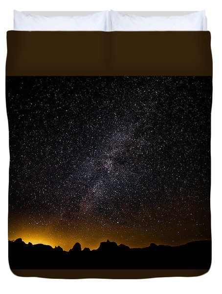 Duvet Cover featuring the photograph Joshua Tree's Fiery Sky by T Brian Jones