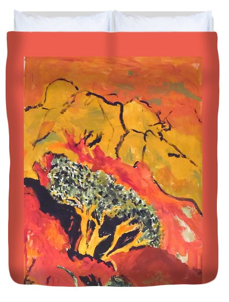 Duvet Cover featuring the painting Joshua Trees In The Negev by Esther Newman-Cohen