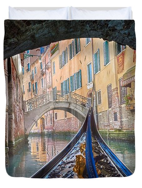 Journey Through Dreams - A Ride On The Canals Of Venice, Italy Duvet Cover