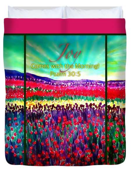 Joy Comes With The Morning Triptych  Duvet Cover