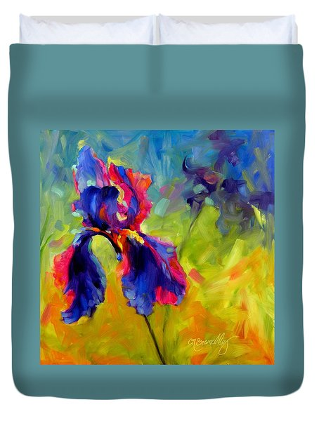 Duvet Cover featuring the painting Joy In The Morning by Chris Brandley