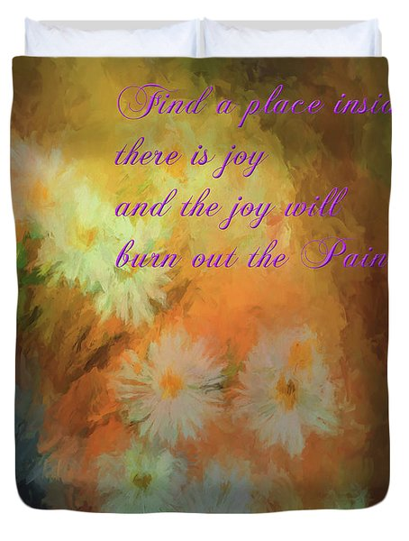 Duvet Cover featuring the mixed media Joy by Jim  Hatch