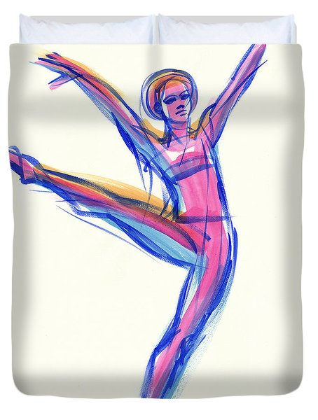 Duvet Cover featuring the painting Joy by Judith Kunzle