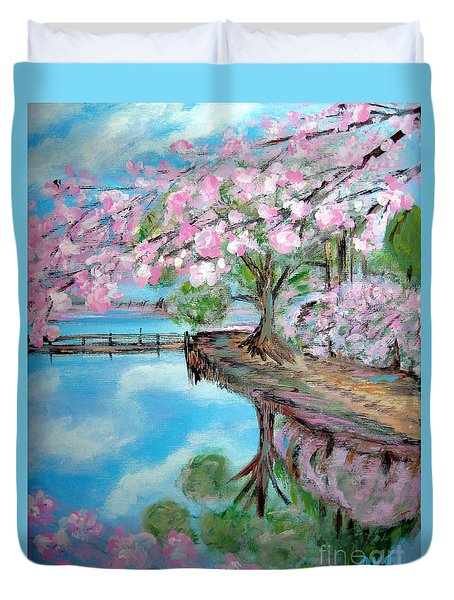 Joy Of Spring. Acrylic Painting For Sale Duvet Cover
