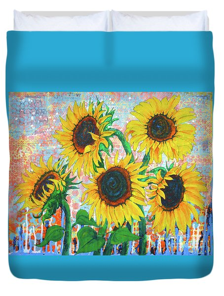 Joy Of Sunflowers Desiring Duvet Cover
