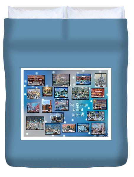 Duvet Cover featuring the painting Joy Riding Around Waltham by Rita Brown