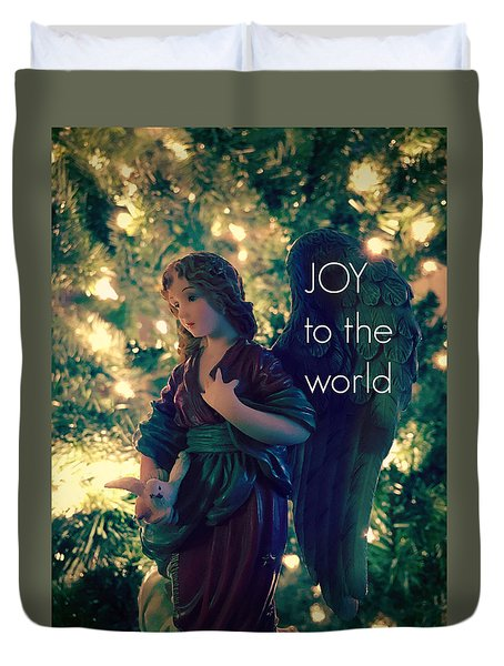 Joy To The World Christmas Angel Duvet Cover
