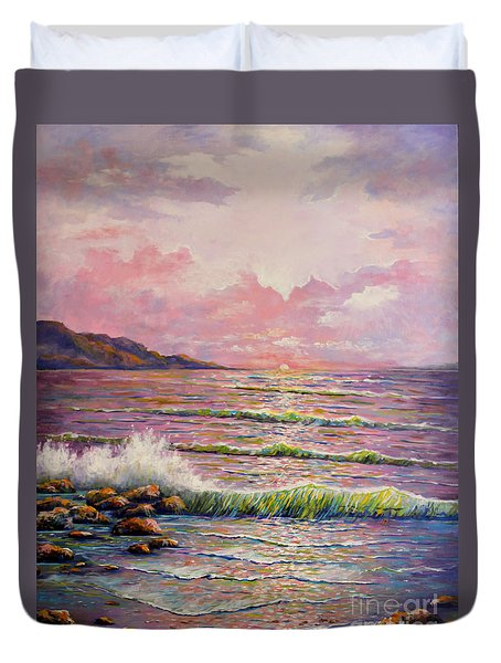 Duvet Cover featuring the painting Joyces Seascape by Lou Ann Bagnall