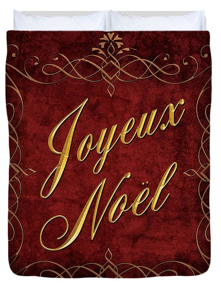 Duvet Cover featuring the digital art Joyeux Noel In Red And Gold by Caitlyn  Grasso
