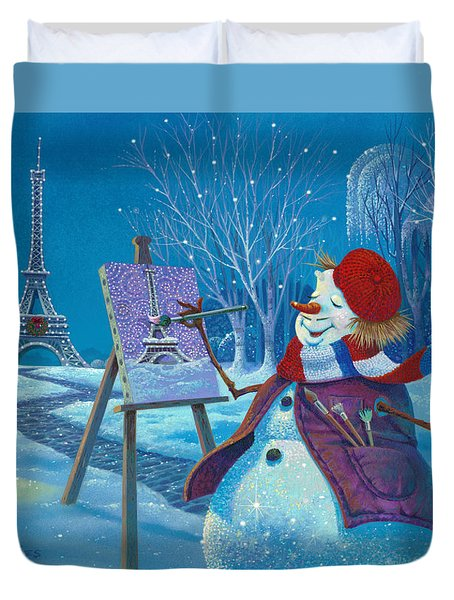 Duvet Cover featuring the painting Joyeux Noel by Michael Humphries