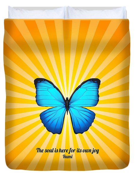 Joyful Butterfly With Quote By Rumi Duvet Cover