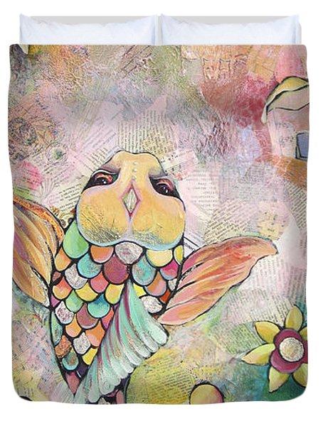 Joyful Koi I Duvet Cover by Shadia Derbyshire