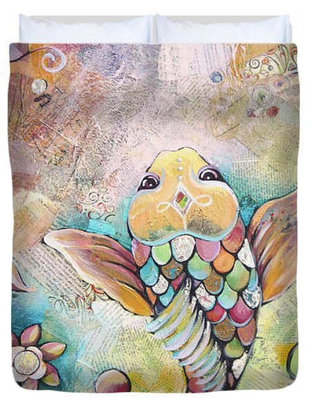 Joyful Koi II Duvet Cover by Shadia Derbyshire