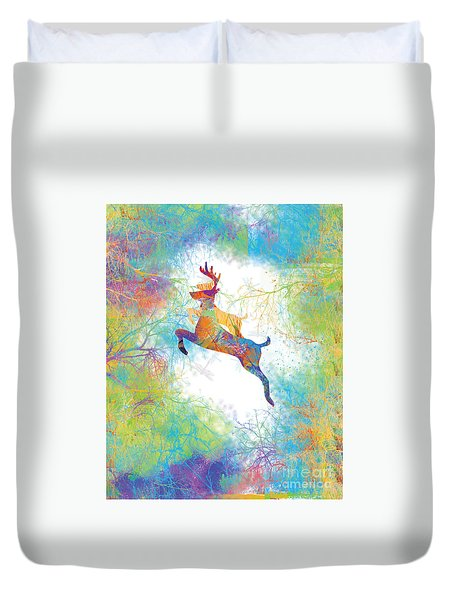 Duvet Cover featuring the digital art Joyful Leaps by Trilby Cole