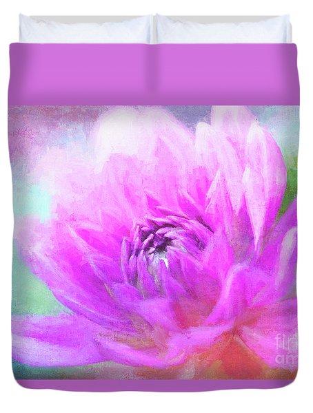 Joyful Painted Pink Dahlia Duvet Cover