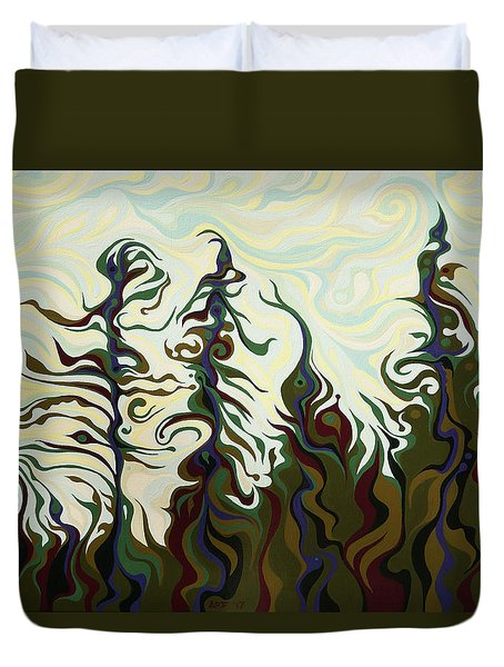 Joyful Pines, Whispering Lines Duvet Cover