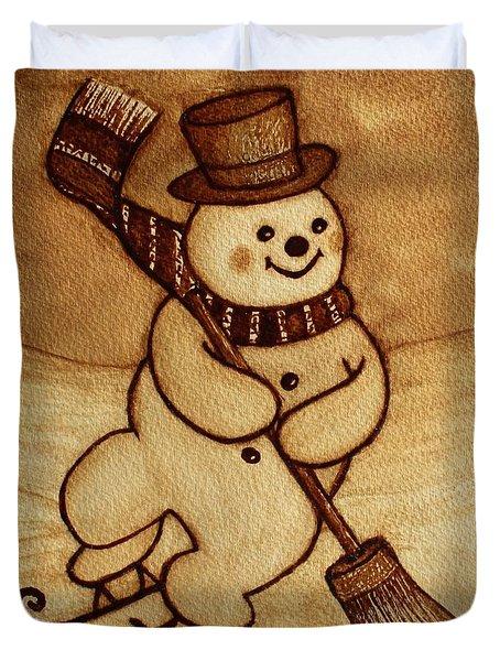 Duvet Cover featuring the painting Joyful Snowman  Coffee Paintings by Georgeta  Blanaru