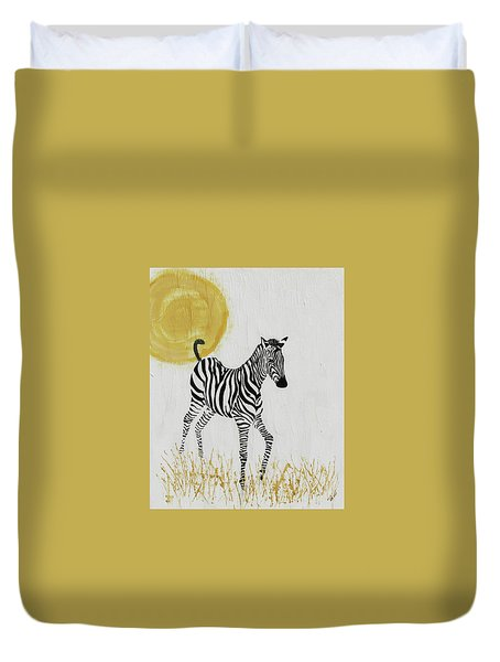 Duvet Cover featuring the painting Joyful by Stephanie Grant