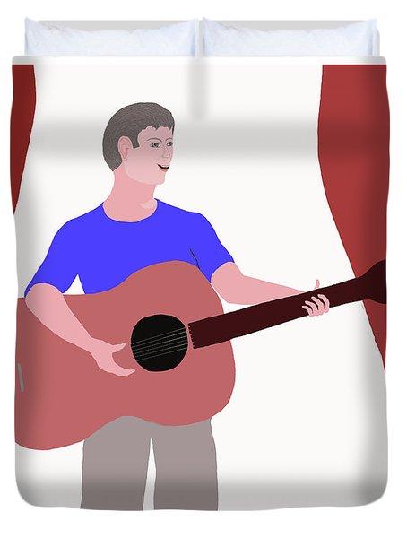 Joyful Young Musician Duvet Cover