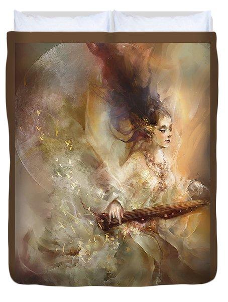 Duvet Cover featuring the digital art Joyment by Te Hu