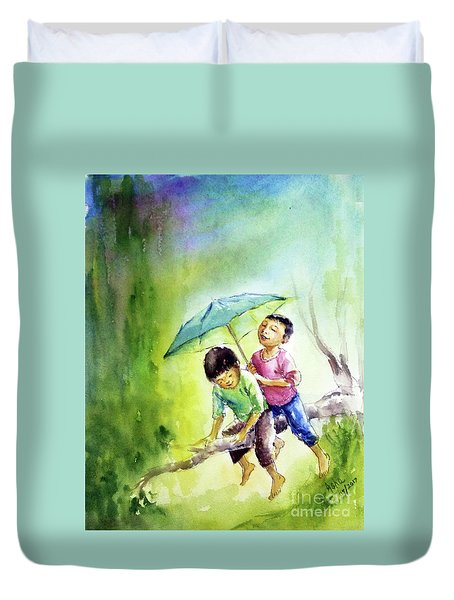 Duvet Cover featuring the painting Joys Of Childhood by Asha Sudhaker Shenoy