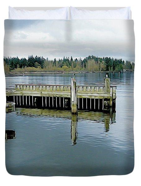 Juanita Bay In Gray Duvet Cover