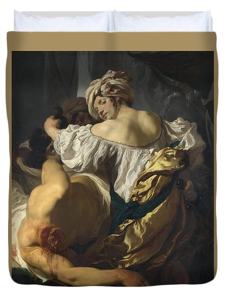 Judith In The Tent Of Holofernes Duvet Cover