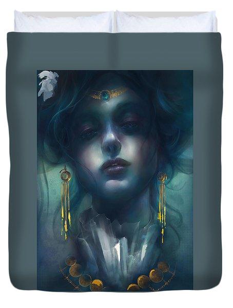 Duvet Cover featuring the digital art Judith V1 by Te Hu