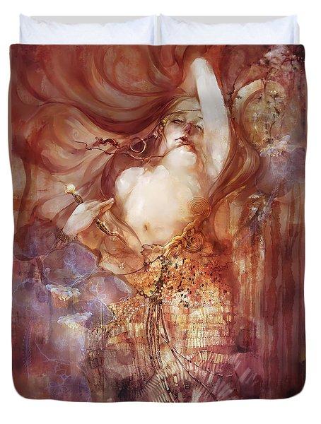 Duvet Cover featuring the digital art Judith V2 by Te Hu