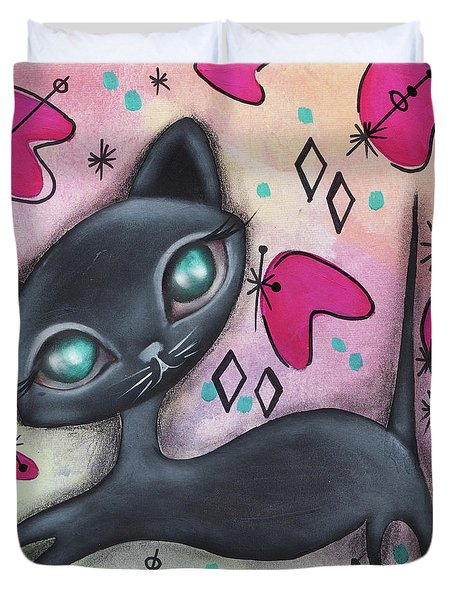 Judy Cat Duvet Cover by Abril Andrade Griffith