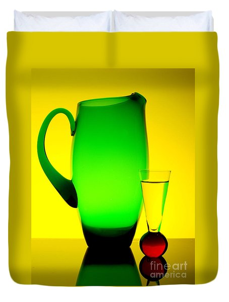 Duvet Cover featuring the photograph Jug And Glass by Trena Mara