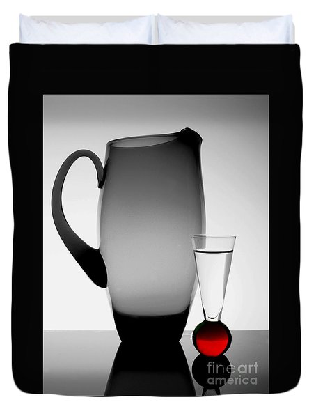 Duvet Cover featuring the photograph Jug And Shot Glass by Trena Mara