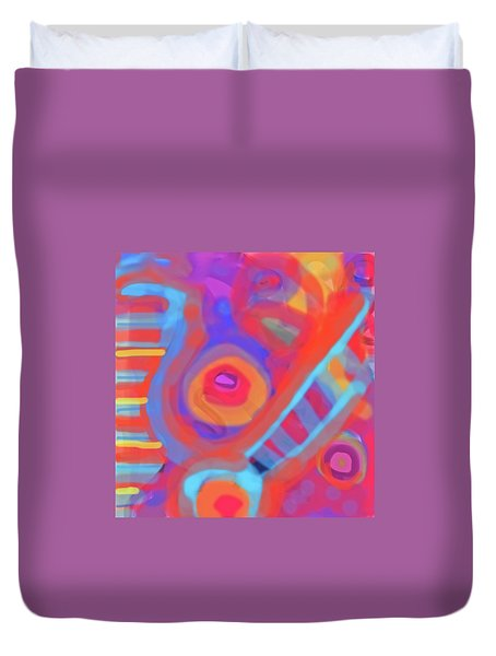 Duvet Cover featuring the painting Juicy Colored Abstract by Susan Stone