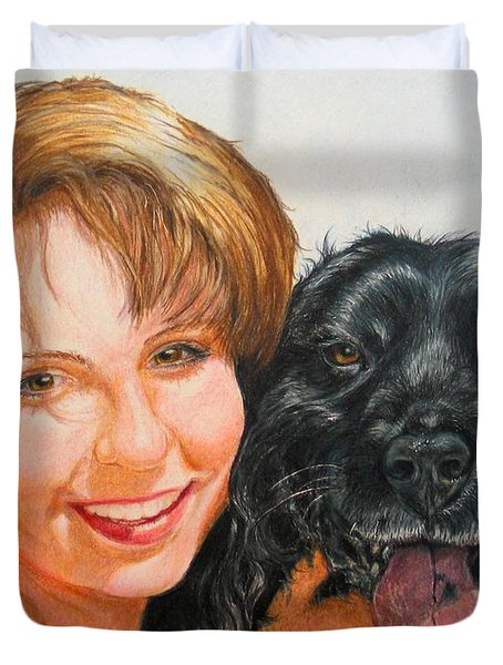 Duvet Cover featuring the drawing Juli And Sam by Karen Ilari