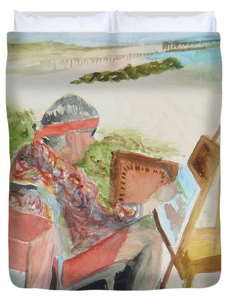 Duvet Cover featuring the painting Julia Painting At Boynton Inlet Beach  by Donna Walsh