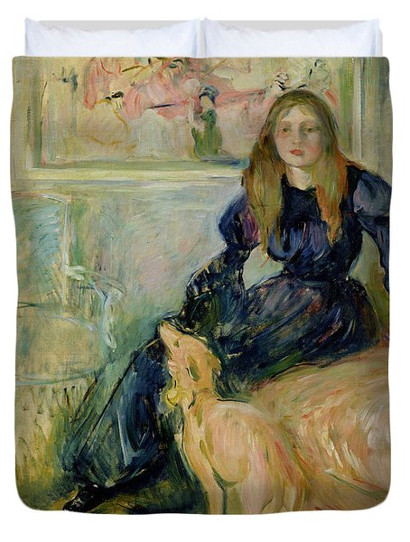 Julie Manet And Her Greyhound Laerte Duvet Cover by Berthe Morisot