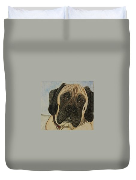 Julie's Dog Lounging Duvet Cover by Christy Saunders Church