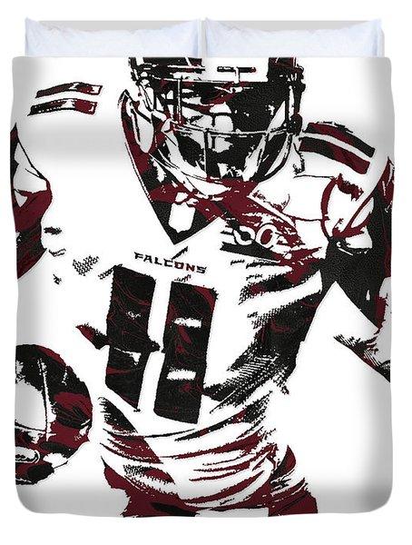 Julio Jones Atlanta Falcons Pixel Art 4 Duvet Cover