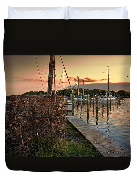 Crab Pots And Sailboats Duvet Cover by Glenn Gemmell