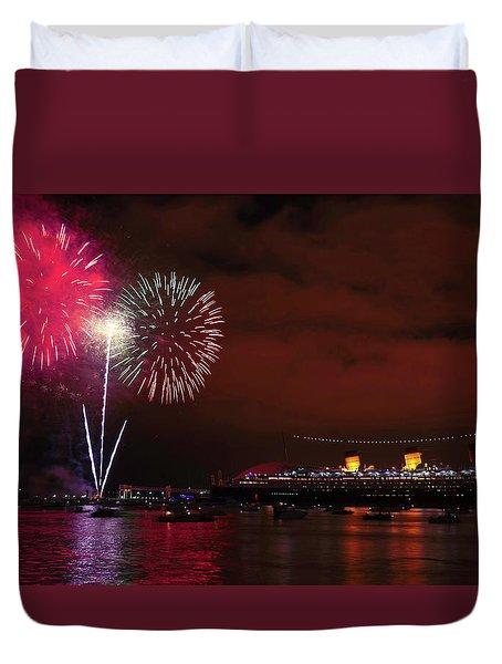 July 4th Fireworks - Long Beach California Duvet Cover