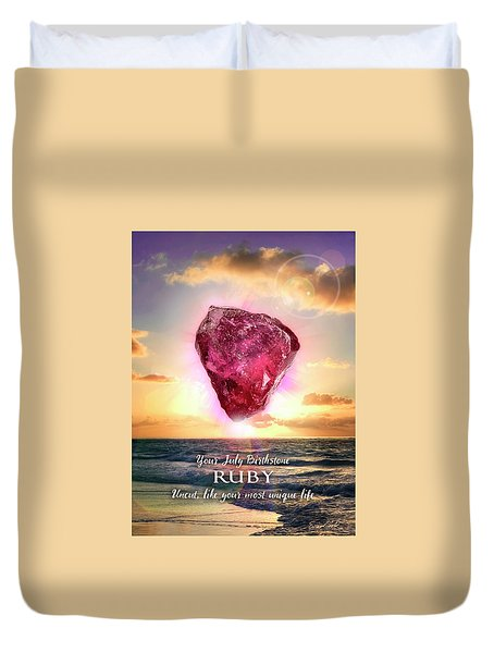 July Birthstone Ruby Duvet Cover