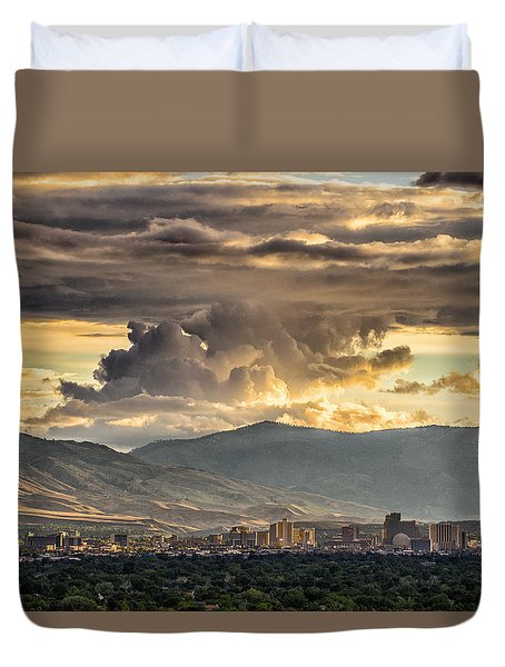 July Sunset Over Reno Duvet Cover